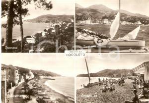1951 COGOLETO (GE) Vedutine con spiaggia e lungomare *Cartolina FG VG