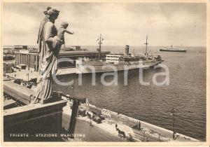 1939 TRIESTE Madonna e Gesù vegliano sulla Stazione Marittima *Cartolina FG VG