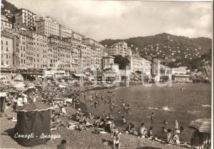 1955 CAMOGLI (GE) Bagnanti e ombrelloni ai BAGNI LIDO *Cartolina FG VG