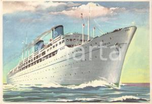 1950 ca SICULA OCEANICA F.lli Grimaldi Turbonave IRPINIA Cartolina ILLUSTRATA FG