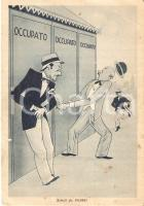 1946 TERME DI FIUGGI (FR) L'angoscia dei bagni occupati *Cartolina GOLIARDICA FG