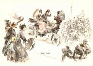 1960 ca MERCEDES BENZ Curiosi ammirano una BENZ 1888 *Cartolina ILLUSTRATA FG NV
