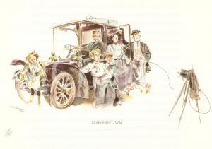 1960 ca MERCEDES BENZ Foto di famiglia su MERCEDES 1904 *Cartolina ILLUSTRATA FG