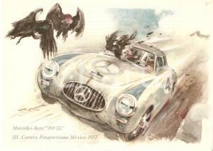 1952 MEXICO Carrera Panamericana MERCEDES BENZ 300 SL Cartolina ILLUSTRATA FG NV