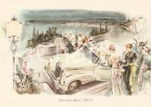 1960 ca MERCEDES BENZ 300 S a una serata di Gala *Cartolina ILLUSTRATA FG NV
