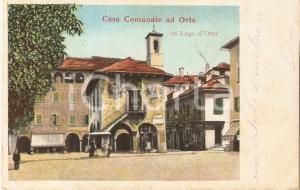 1904 ORTA SAN GIULIO (NO) Veduta con Casa Comunale *Cartolina FP VG