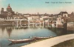 1940 PAVIA Barche e ponte sul fiume TICINO Panorama *Cartolina FP NV