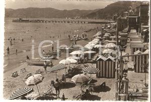 1938 ALASSIO (SV) Barche e ombrelloni sulla spiaggia *Cartolina FG VG