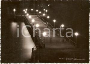 1955 ca ALASSIO (SV) Panorama notturno del molo *Cartolina DANNEGGIATA FG VG