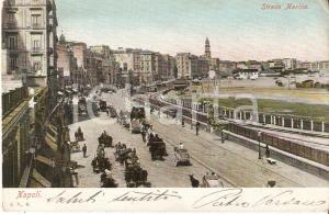 1900 ca NAPOLI Strada Marina invasa dalle carrozze *Cartolina FP VG