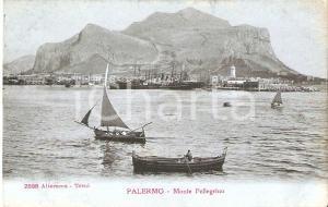 1910 ca PALERMO Barche dei pescatori davanti al MONTE PELLEGRINO Cartolina FP NV