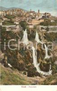 1910 TIVOLI (RM) Panorama con le Cascatelle dell'ANIENE *Cartolina FP VG