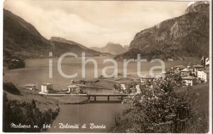 1949 MOLVENO (TN) Panorama con le DOLOMITI DEL BRENTA *Cartolina FP VG
