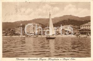 1933 VARAZZE (SV) Succursale Regina Margherita e Bagni Eden *Cartolina FP VG