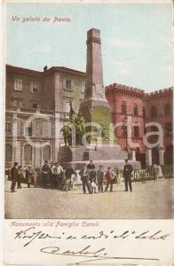 1905 ca PAVIA Gendarme in posa Monumento Famiglia CAIROLI *Cartolina FP VG