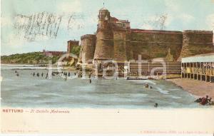 1908 NETTUNO (RM) Bagnanti e castello medioevale *Cartolina FP VG