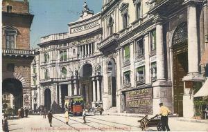 1919 NAPOLI Tram e uomo con carretto in Via San Carlo *Cartolina FP VG
