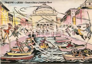 1965 TRIESTE Bora travolge Chiesa Sant'Antonio Nuovo *Cartolina Ill. Aldo ARONNE