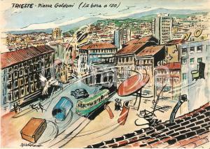 1965 TRIESTE Bora travolge insegna CINZANO *Cartolina Illustrata Aldo ARONNE