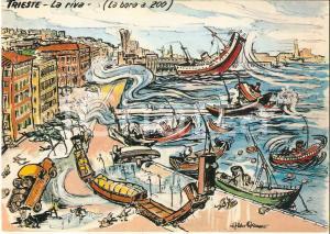 1965 TRIESTE Navi spinte a Riva dalla Bora *Cartolina Illustrata Aldo ARONNE