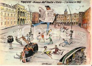 1965 ca TRIESTE Bora travolge lettore de IL PICCOLO *Cartolina Ill. Aldo ARONNE