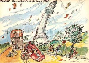 1965 TRIESTE Bora piega il Faro della Vittoria *Cartolina Illustrata Aldo ARONNE