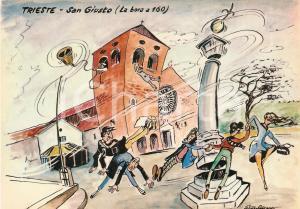 1965 TRIESTE Bora travolge Basilica SAN GIUSTO *Cartolina Illustrata Aldo ARONNE