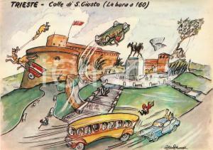 1965 TRIESTE Bora travolge colle di SAN GIUSTO *Cartolina Illustrata Aldo ARONNE