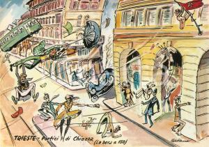 1965 TRIESTE Bora travolge Portici di CHIOZZA *Cartolina Illustrata Aldo ARONNE