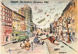1965 TRIESTE La bora in Via Carducci *Cartolina Illustrata Aldo ARONNE