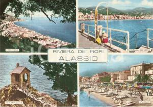 1965 ca ALASSIO (SV) Vedutine con signora seduta sul molo *Cartolina FG VG