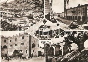 1954 FABRIANO (AN) Vedutine Palazzo Podestà e Piazza del Comune *Cartolina FG NV