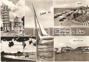 1962 MARINA DI PISA Vedutine con Bocca d'Arno e barca a vela *Cartolina FG NV