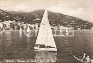 1957 ALASSIO (SV) Barca a vela U 66 torna verso la costa *Cartolina FG VG