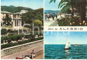 1960 ALASSIO (SV) Vedutine con VESPA e barva a bela FD I.40 *Cartolina FG VG