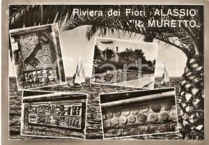 1965 ca ALASSIO Vedutine MURETTO Piastrelle e chiave della città Cartolina FG VG
