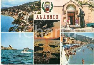 1968 ALASSIO (SV) Vedutine con motoscafo e Piazza San Francesco *Cartolina FG VG
