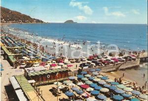 1965 ca ALASSIO (SV) Folla di bagnanti ai BAGNI LIGURE *Cartolina FG VG