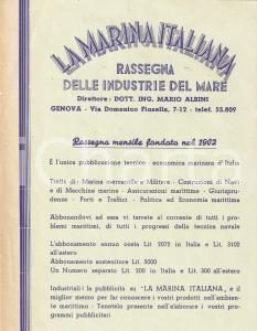 1950 ca MARINA ITALIANA Rassegna delle industrie del mare *Volantino ABBONAMENTO