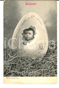 1904 PASQUA Un bambino nell'uovo *Cartolina VINTAGE CURIOSA ALTEROCCA FP VG