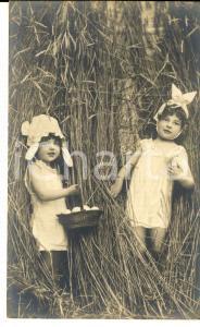 1900 ca PASQUA Bambine con cesta di uova *Cartolina VINTAGE CURIOSA FP VG