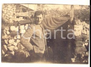 1915 ca WW1 ZONA DI GUERRA Ritratto di ufficiale di fanteria *Fotografia 6x5 cm