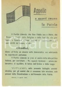 1946 BITONTO (BA) Partito Liberale Italiano per referendum costituzionale