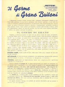 1952 SANSEPOLCRO (AR) Il germe di grano BUITONI 125° anniversario Volantino