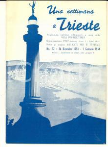 1953 TRIESTE Programma turistico con inserzioni pubblicitarie ILLUSTRATO