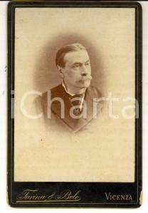 1880 ca VICENZA Ritratto maschile con cravatta *Foto FARINA & BOLO 17x12 cm