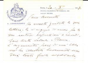 1958 ROMA Ringraziamenti commissario Pio Sodalizio dei FORNAI ITALIANI Biglietto