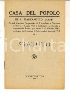 1950 SAN MARZANOTTO D'ASTI Statuto Casa del Popolo - Cooperativa Consumo