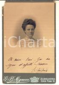 1910 ca ALESSANDRIA Ritratto di donna in abito a righe *Foto G. B. MIGNONE