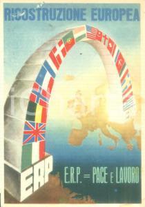 1950 ca ROMA ERP Ricostruzione europea *Cartolina ILLUSTRATA FG NV